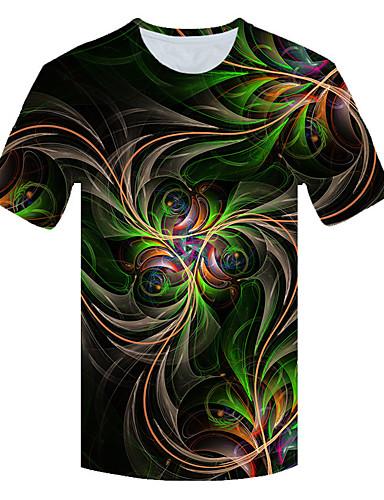 Ανδρικά Μεγάλα Μεγέθη T-shirt 3D Στρογγυλή Λαιμόκοψη Patchwork Ουράνιο Τόξο / Κοντομάνικο