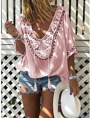 billige T-skjorter til damer-V-hals T-skjorte Dame - Ensfarget Rosa