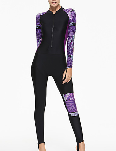 cheap Wetsuits, Diving Suits & Rash Guard Shirts-SBART Women's Rash Guard Dive Skin Suit Spandex Diving Suit SPF50 UV Sun Protection Quick Dry Long Sleeve Front Zip - Swimming Diving Surfing Patchwork / Full Body