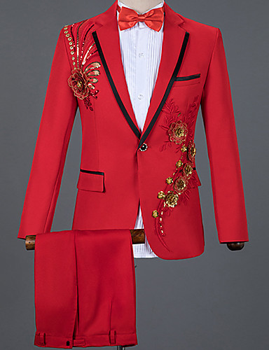 levne Pánské blejzry a saka-Pánské Obleky, Barevné bloky Kolopy do špičky Nylon Bílá / Černá / Rubínově červená