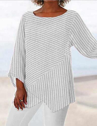 billige Dametopper-Oversized T-skjorte Dame - Stripet, Lapper / Trykt mønster Vintage / Grunnleggende Hvit