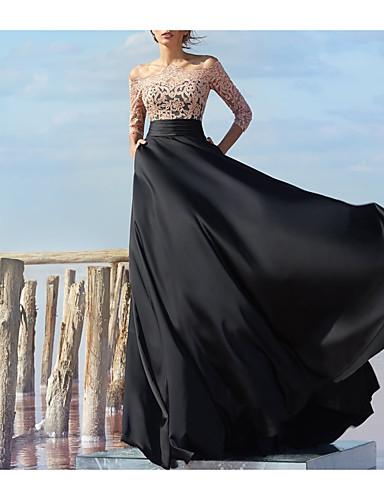 Linha A Ombro a Ombro Longo Chiffon / Renda Color Block Evento Formal Vestido 2020 com Aplicação de renda