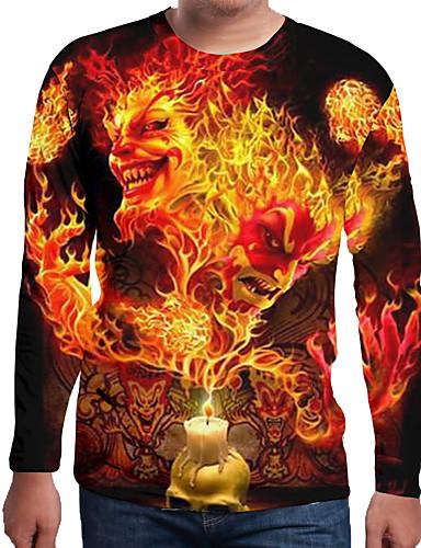 Rund hals EU / USA størrelse T-skjorte Herre - Ensfarget / 3D / Hodeskaller, Trykt mønster Oransje / Langermet