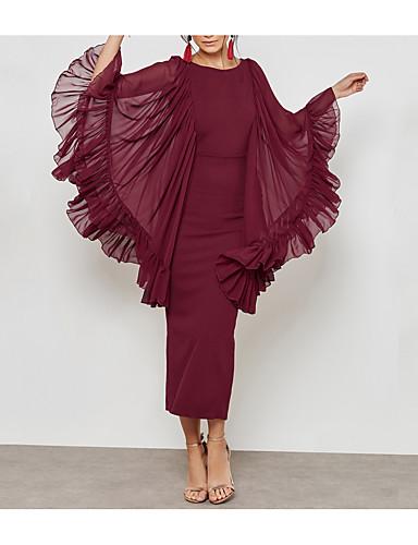 levne Maxi šaty-Dámské Větší velikosti Práce Šik ven Sofistikované Štíhlý Pouzdro Šaty - Jednobarevné, Síťka Rozparek Maxi Vysoký pas / Sexy