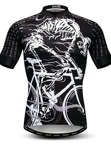 povoljno Biciklističke majice-21Grams Muškarci Kratkih rukava Biciklistička majica Crno bijela / Skeleton Bicikl Biciklistička majica Majice Brdski biciklizam biciklom na cesti Prozračnost Ovlaživanje Quick dry Sportski Poliester