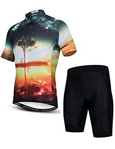povoljno Odjeća za vožnju biciklom-21Grams 3D Zalazak sunca Muškarci Kratkih rukava Biciklistička majica s kratkim hlačama - Crna / žuta Bicikl Sportska odijela Prozračnost Ovlaživanje Quick dry Sportski Elastan Terilen Brdski