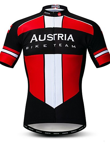 povoljno Odjeća za vožnju biciklom-WEIMOSTAR Muškarci Kratkih rukava Biciklistička majica Rough Black Austrija Državne zastave Bicikl Biciklistička majica Majice Brdski biciklizam biciklom na cesti Prozračnost Ovlaživanje Quick dry