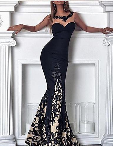 levne Maxi šaty-Dámské Cikánský Elegantní Bodycon Šaty - Květinový, Krajka Maxi