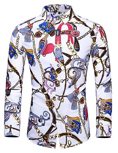voordelige Herenoverhemden-Heren Standaard Print Overhemd Tribal Wit