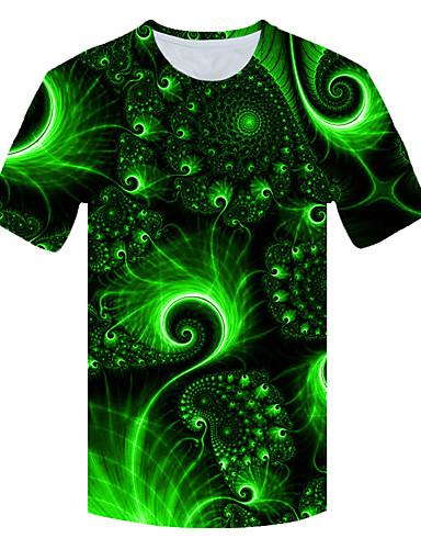 Ανδρικά Μεγάλα Μεγέθη T-shirt 3D Στρογγυλή Λαιμόκοψη Patchwork Πράσινο του τριφυλλιού / Κοντομάνικο