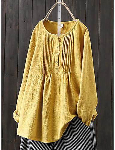 billige Skjorter til damer-Bomull Løstsittende Store størrelser Skjorte Dame - Ensfarget, Flettet / Lapper Grunnleggende / Chinoiserie Hvit