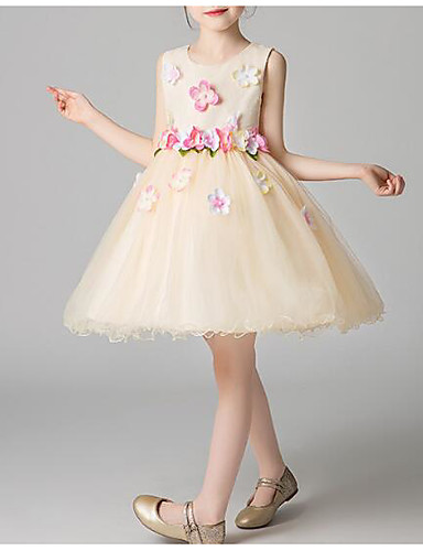 Πριγκίπισσα Μέχρι το γόνατο Φόρεμα για Κοριτσάκι Λουλουδιών - Πολυεστέρας / Τούλι Αμάνικο Με Κόσμημα με Διακοσμητικά Επιράμματα / Λεπτομέρεια με πέρλα / Βαθμίδες