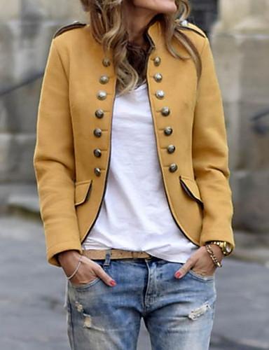 preiswerte Damen Blazer-Damen Alltag Street Schick Standard Jacke, Solide Ständer Langarm Polyester Khaki