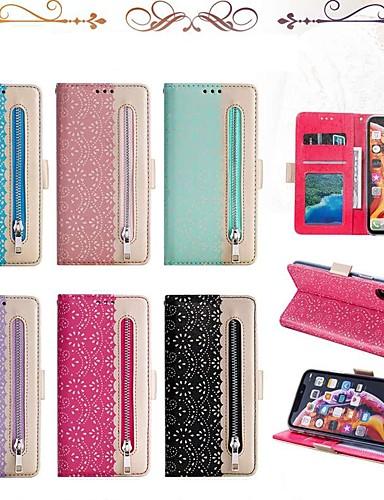 Capinha Para Apple iPhone XS / iPhone XR / iPhone XS Max Carteira / Porta-Cartão / Antichoque Capa Proteção Completa Linhas / Ondas Rígida PU Leather