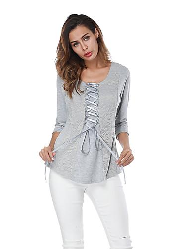 billige Dametopper-T-skjorte Dame - Ensfarget, Blonde / Blondér / Lapper Grunnleggende Grå