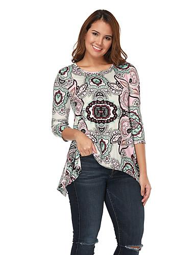 billige Dametopper-T-skjorte Dame - Blomstret, Trykt mønster Gatemote Beige
