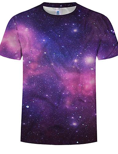 Ανδρικά Μέγεθος EU / US T-shirt Γαλαξίας / Συνδυασμός Χρωμάτων / 3D Στρογγυλή Λαιμόκοψη Στάμπα Ουράνιο Τόξο / Κοντομάνικο