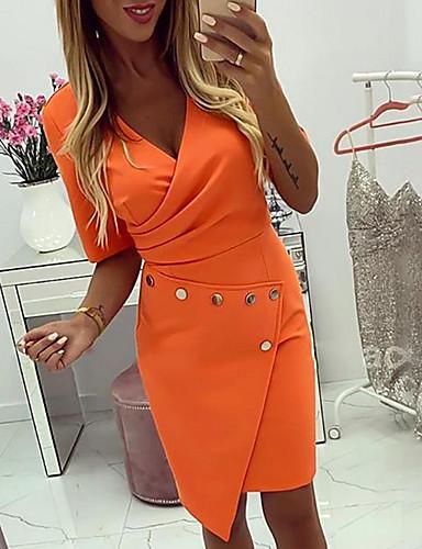 levne Pracovní šaty-Dámské Štíhlý Pouzdro Šaty - Jednobarevné Nad kolena Hluboké V