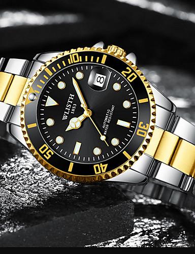 Ανδρικά μηχανικό ρολόι Αυτόματο κούρδισμα Κομψό Ανοξείδωτο Ατσάλι Χρυσό 30 m Ανθεκτικό στο Νερό Ημερολόγιο Νεό Σχέδιο Αναλογικό Μοντέρνα - Μαύρο Πράσινο Μπλε