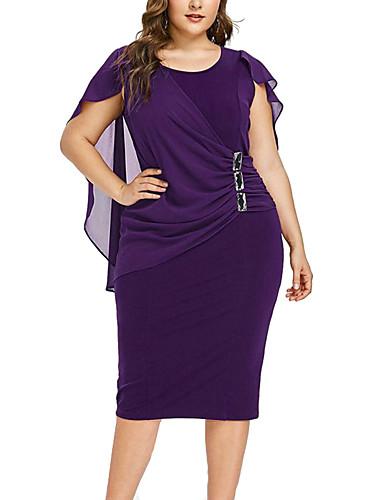 voordelige Grote maten jurken-Dames Verfijnd Elegant Schede Jurk - Effen, Geplooid Patchwork Tot de knie