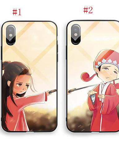 tilfelle for eple iphone 6 / iphone xs maks mønster bakdeksel tegneserie hardt temperert glass for iphone 6 / iphone 6 pluss / iphone 6s
