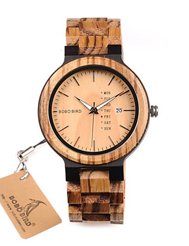 Relógio Elegante Madeira Analógico Preto Marron