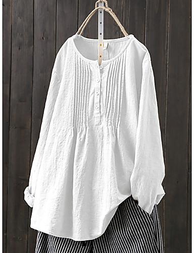 billige Dametopper-Bomull Løstsittende Store størrelser Skjorte Dame - Ensfarget, Flettet / Lapper Grunnleggende / Chinoiserie Hvit