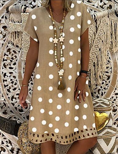 Women's Plus Size Shift Dress Knee Length Dress - Short Sleeve Polka Dot Print Summer V Neck Casual Holiday Vacation 2020 Black Blue Red Yellow Orange Khaki Green Gray S M L XL XXL XXXL XXXXL XXXXXL