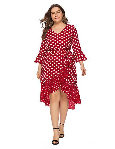 voordelige Grote maten jurken-Dames A-lijn Jurk - Polka dot, Ruche Asymmetrisch