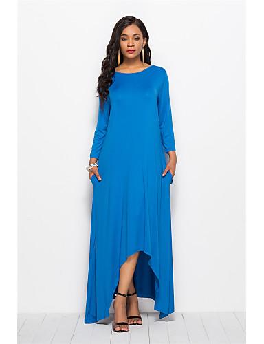 voordelige Maxi-jurken-Dames Elegant Wijd uitlopend Jurk - Effen Asymmetrisch