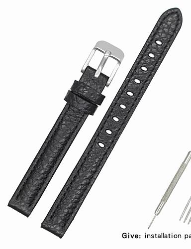 couro legítimo / Pele / Pêlo de Bezerro Pulseiras de Relógio Alça para Preta Outra / 17cm / 6,69 polegadas / 19cm / 7.48 Polegadas 1cm / 0.39 Polegadas