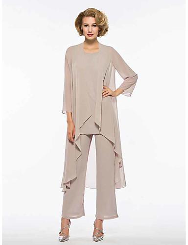 voordelige Wrap Dresses-Tweedelig / pantsuit Met sieraad Tot de enkel Chiffon Bruidsmoederjurken met Ruches door LAN TING Express / Wrap inbegrepen