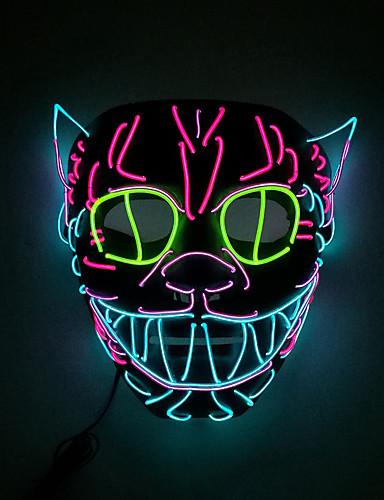 povoljno Maske i kostimi-LED Cosplay Nošnje Mask Povorka maski Inspirirana Mačka Crn Halloween Božić Halloween Karneval Odrasli Muškarci Žene