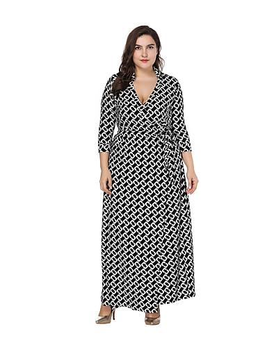 voordelige Grote maten jurken-Dames A-lijn Jurk - Kleurenblok Abstract, wrap Maxi