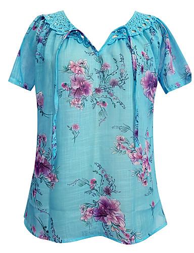billige Dametopper-V-hals Store størrelser T-skjorte Dame - Ensfarget, Blonde / Blomster stil / Trykt mønster Hvit / Vår / Sommer / Høst