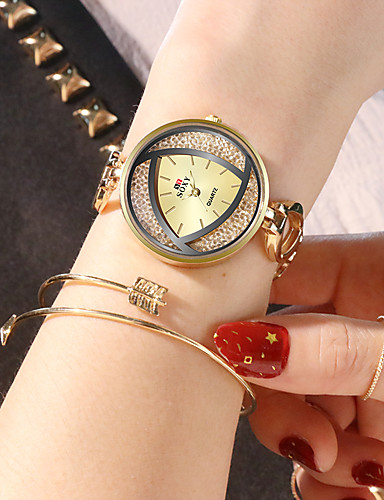 soxy κυρίες ρολόι βραχιόλι χρυσό και ασημί μαύρο τρίχρωμο ακανόνιστο σχέδιο σχέδιο κομψό ρολόι φόρεμα