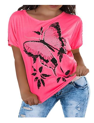 billige Dametopper-Bomull Løstsittende T-skjorte Dame - Grafisk, Lapper / Trykt mønster Grunnleggende Svart