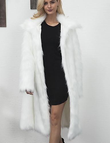 Žene Dnevno Osnovni Zima Dug Faux Fur Coat, Jednobojni Crno-bijela V izrez Dugih rukava Umjetno krzno Kolaž Obala / Srebro / Sive boje / Ogroman