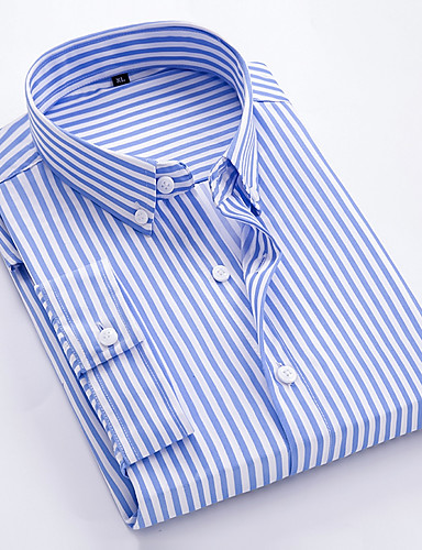 cheap Men's Shirts-Men's Striped Slim Shirt Business Basic Daily Wear Athleisure White / Black / Blue / Red / Navy Blue / Light Blue / Short Sleeve