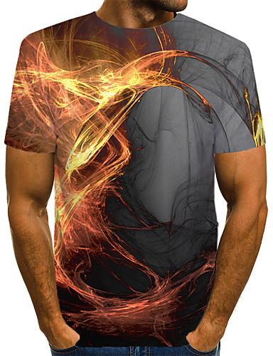 levne Pánská tílka-Pánské - 3D Větší velikosti Tričko, Patchwork Kulatý Žlutá / Krátký rukáv