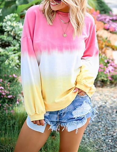 billige Dametopper-Løstsittende Store størrelser T-skjorte Dame - Fargeblokk / Regnbue, Trykt mønster Grunnleggende / Gatemote Rosa