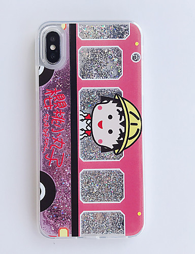Capinha Para Apple iPhone XS / iPhone XS Max / iPhone 8 Plus Anti-poeira / Estampada / Glitter Brilhante Capa traseira Desenho Animado PC
