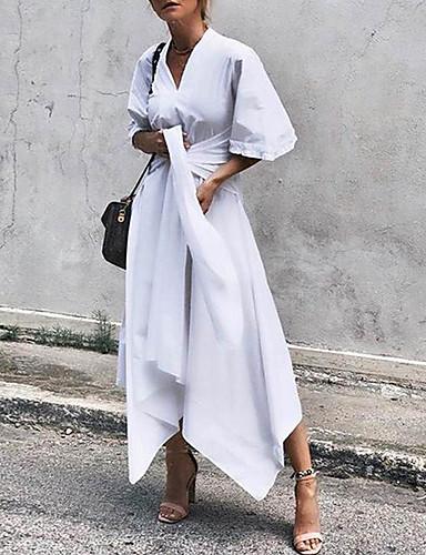 voordelige Maxi-jurken-Dames Street chic Elegant A-lijn Schede Jurk - Effen Midi