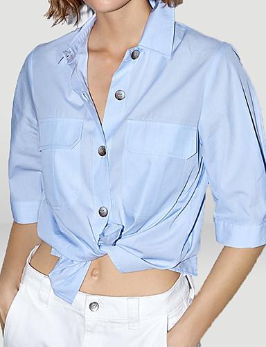 billige Dametopper-Skjortekrage Skjorte Dame - Ensfarget Grunnleggende / Gatemote Blå