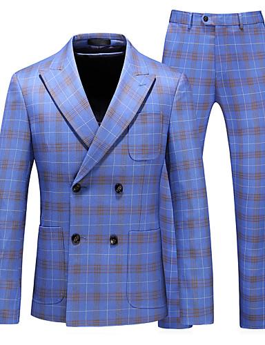 preiswerte Eng anliegende Blazer-Herrn Anzüge, Solide Steigendes Revers Polyester Leicht Blau / Schlank