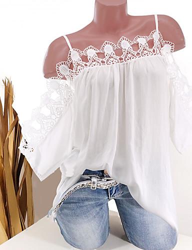 billige Dametopper-Løstsittende Stroppeløs Bluse Dame - Ensfarget, Blonde Hvit