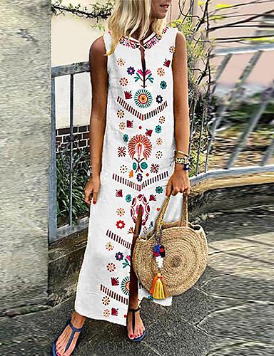 preiswerte Kleider für die Ferien-Damen Übergrössen Boho Tunika Kleid Geometrisch Maxi Tiefes V