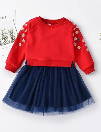 Νήπιο Κοριτσίστικα Γλυκός Φλοράλ Patchwork Μακρυμάνικο Πάνω από το Γόνατο Φόρεμα Ρουμπίνι / Βαμβάκι