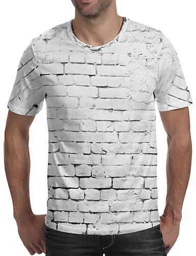 preiswerte 3D-Herrn 3D - Grundlegend EU- / US-Größe T-shirt, Rundhalsausschnitt Weiß / Kurzarm