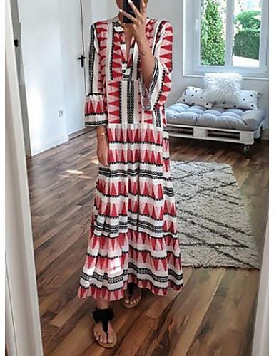 Жен. Большие размеры Античный Свободный силуэт Прямое Платье - Геометрический принт, Пэчворк V-образный вырез Макси